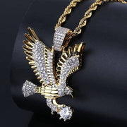 Hip Hop Gold Color Plated Copper Iced Out Micro Paved CZ Eagle Pendant Necklace Men Charm Jewelry Three Style Chains