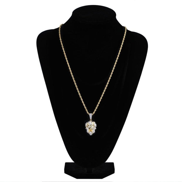 Hip Hop Gold Gold Coated Ice microshop cube zirconium lion Head pendention collier charmant homme bijoux