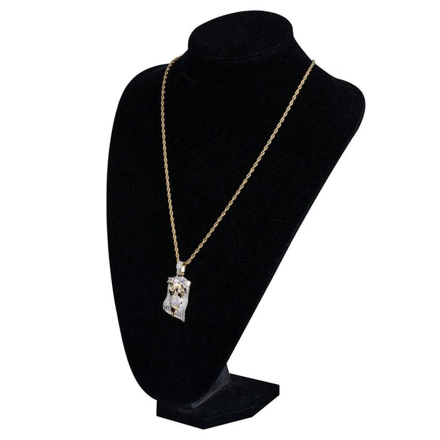 Hip Hop New Fashion Gold Color Plated Iced Out Big CZ Stone Masked Jesus Face Pendant Necklace Crystal With Three Type