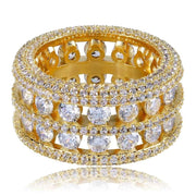 Hip Hop Ring Brass Gold Silver Color Iced Out Micro Pave CZ 2 Row Bigger Width Rings Charm For Men Women Gifts Jewelry