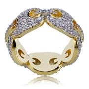 Hip Hop New Design Iced Out Chain Link Ring Micro Pave AAA Zircon Gold Color Plated Ring for Men Bling Party Gift