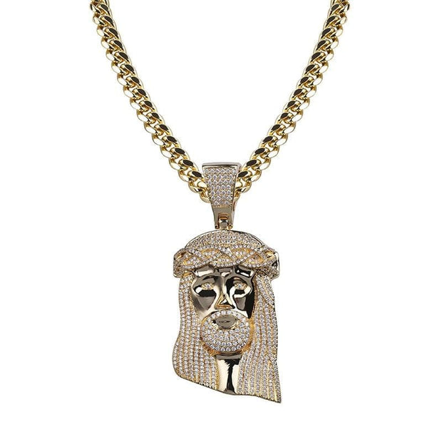 New Ice out Jesus Corolla pendant hip hop Jewelry Fashion CZ Stone Necklace Cubic Zircon Link For Man Women Gift