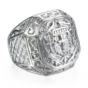 Stainless Steel Hip Hop Men's Ring Rock Silver color Tone Carved Cross Crown For Mens Boys Jewelry Gift