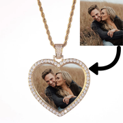 Custom Heart Photo Medallions Necklace