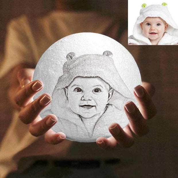 Photo Moon Lamp, Custom 3D Photo Light, Baby Gift-FCC Certified