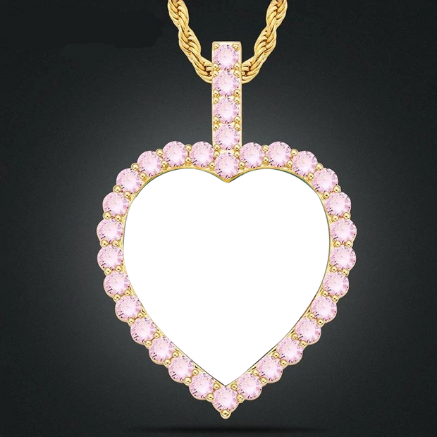 Pink Crystal Custom Photo Heart Pendant Necklace Personality Men's Hip Hop Jewelry 4mm Tennis Chain Cubic Zircon Gold Silve Gift
