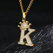 Crystal Zircon Alphabet Pendant Necklaces For Women Men Crown Initial Letter Necklace Goth Chain Vintage Jewelry