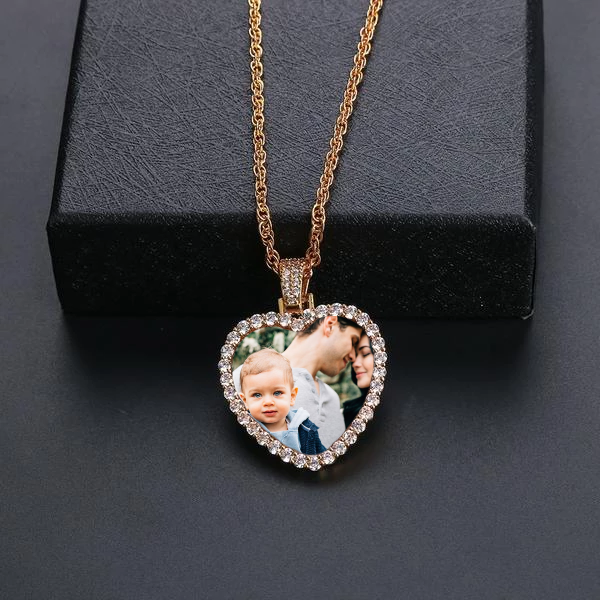 Custom Made Heart Shape Photo Medallions Necklace
