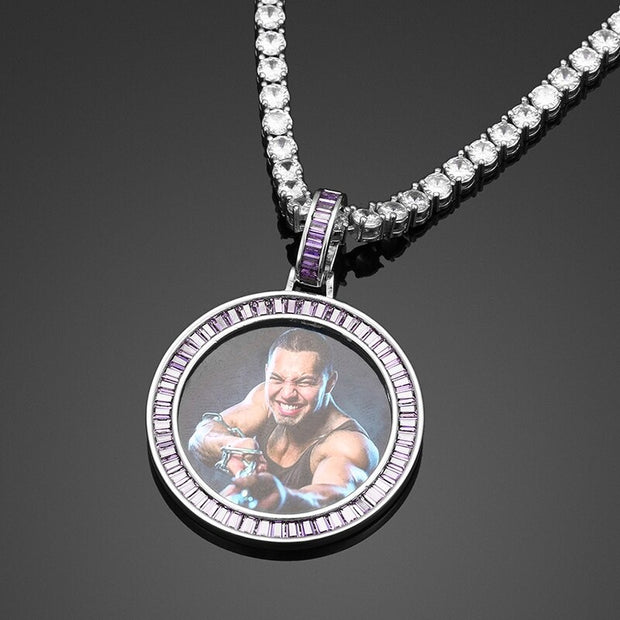 Custom Made Photo Baguette Crystal Medallions Solid Pendant Necklace For Women Personalize Cubic Zircon Men Hip Hop Rock Jewelry