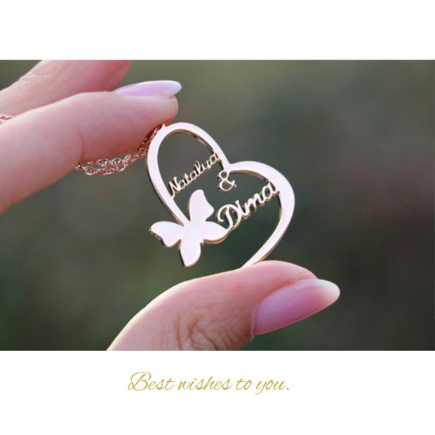 choker custom golden butterfly name necklace double name heart pendant necklace stainless steel jewelry gift for best friend bff