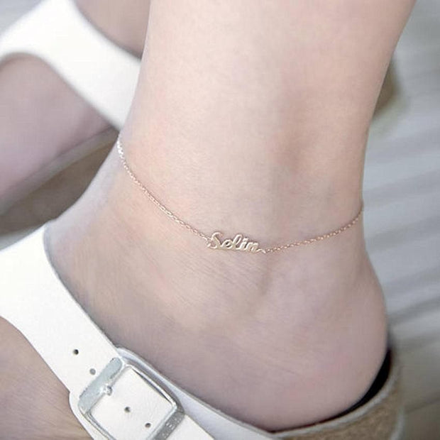 personality Tobilleras Gold colour custom name anklet Ankle anklets for women stainless steel ankle bracelet Barefoot Sandals B