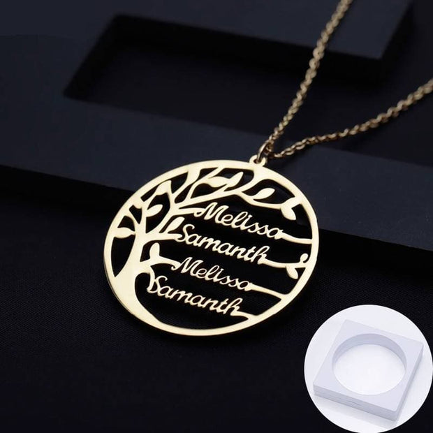 Personalized Statement Family Tree Necklace For Women custom Name Gold Color Stainless Steel necklace Men Jewelry Christmas Gift