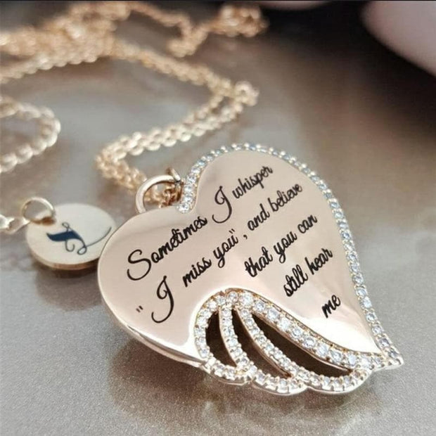 Tender Whispers Angel Wing Crystal Necklace