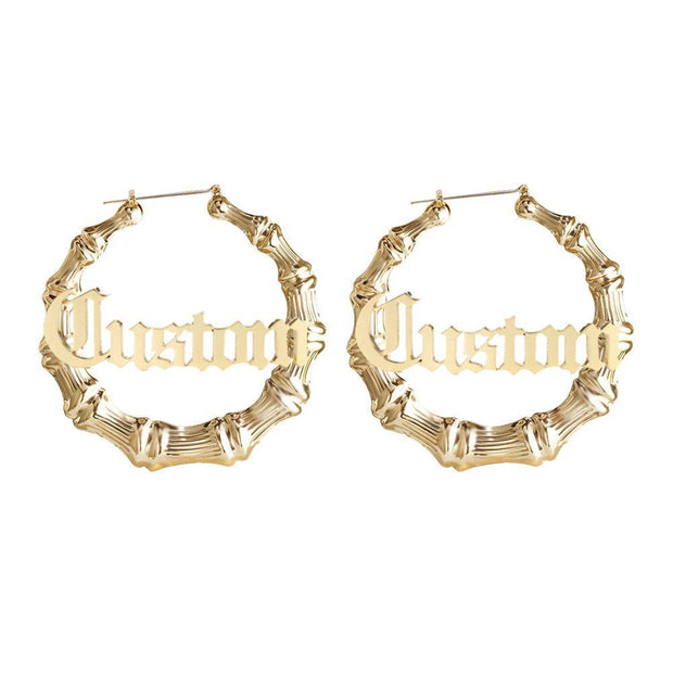 Custom Made Bamboo Hoop Earring