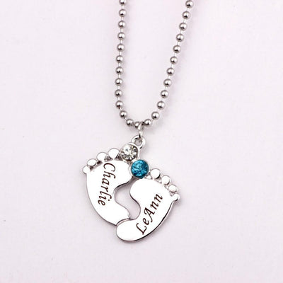 Custom Baby Feet Necklace With Birthstones