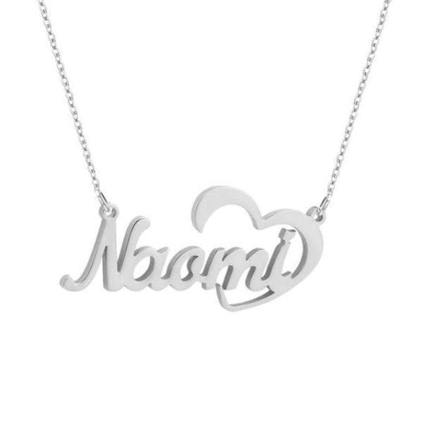 Crescent Heart Name Necklace