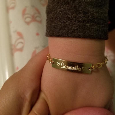 Custom Baby Name Bracelet With Adjustable Chain