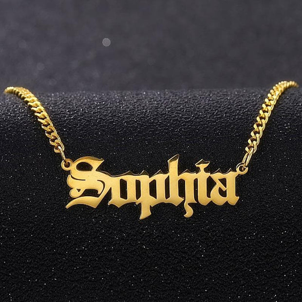Personalized Nameplate Necklace With 3mm Cuban Chain