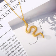 Snake Pendant Necklace For Women snake jewelry Gold stainless steel jewelry