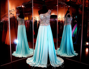 Sky Blue One Shoulder Chiffon Gown-Slit-Beaded Sheer Bodice-100BP097790 / Rsvp Prom and Pageant, Atlanta, GA / Best Prom Store in Atlanta / #Promheaven