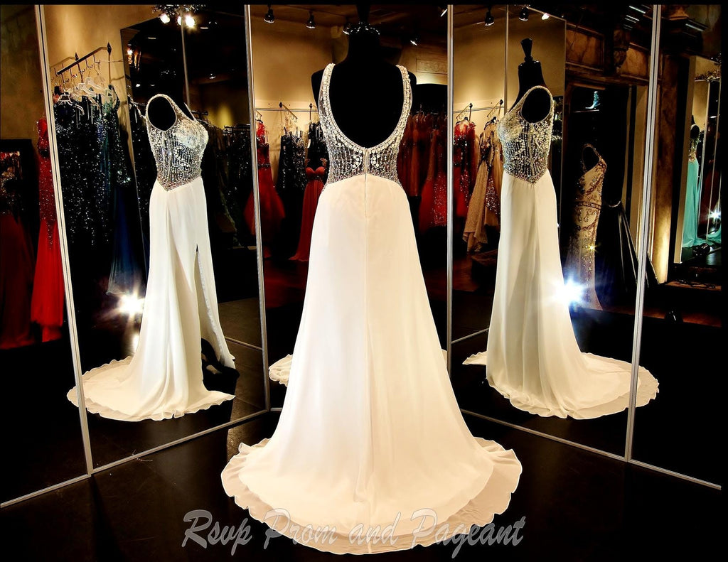White Low Back Long Prom Dress / Rsvp Prom and Pageant, Atlanta, GA / Best Prom Store in Atlanta / #Promheaven