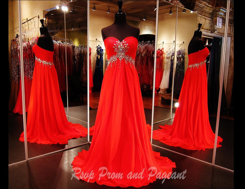 Strapless Red Chiffon Long Dress (SALE) - Rsvp DJ - Long Gown - Rsvp Prom and Pageant Atlanta, Georgia GA - 1