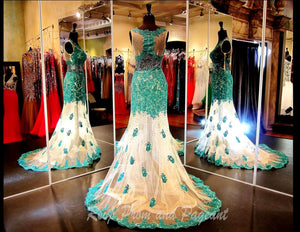 Green/Nude Lace Mermaid Evening Gown-High Neckline-Sheer Skirt-Illusion Back-115DJ0105890 - Rsvp Prom and Pageant, Atlanta, GA