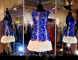 Cobalt/Nude Lace Open Back Short Dress (SALE) - Rsvp DJ - Short Dress - Rsvp Prom and Pageant Atlanta, Georgia GA - 1