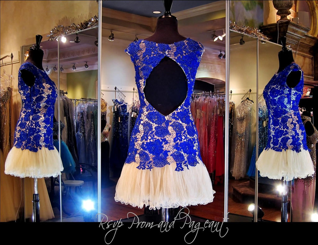 Cobalt/Nude Lace Open Back Short Dress (SALE) - Rsvp DJ - Short Dress - Rsvp Prom and Pageant Atlanta, Georgia GA - 2