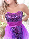 Bodice of Purple Sequins Strapless Removable Skirt Homecoming Dress at Rsvp Prom and Pageant, best prom dress store, Atlanta, GA