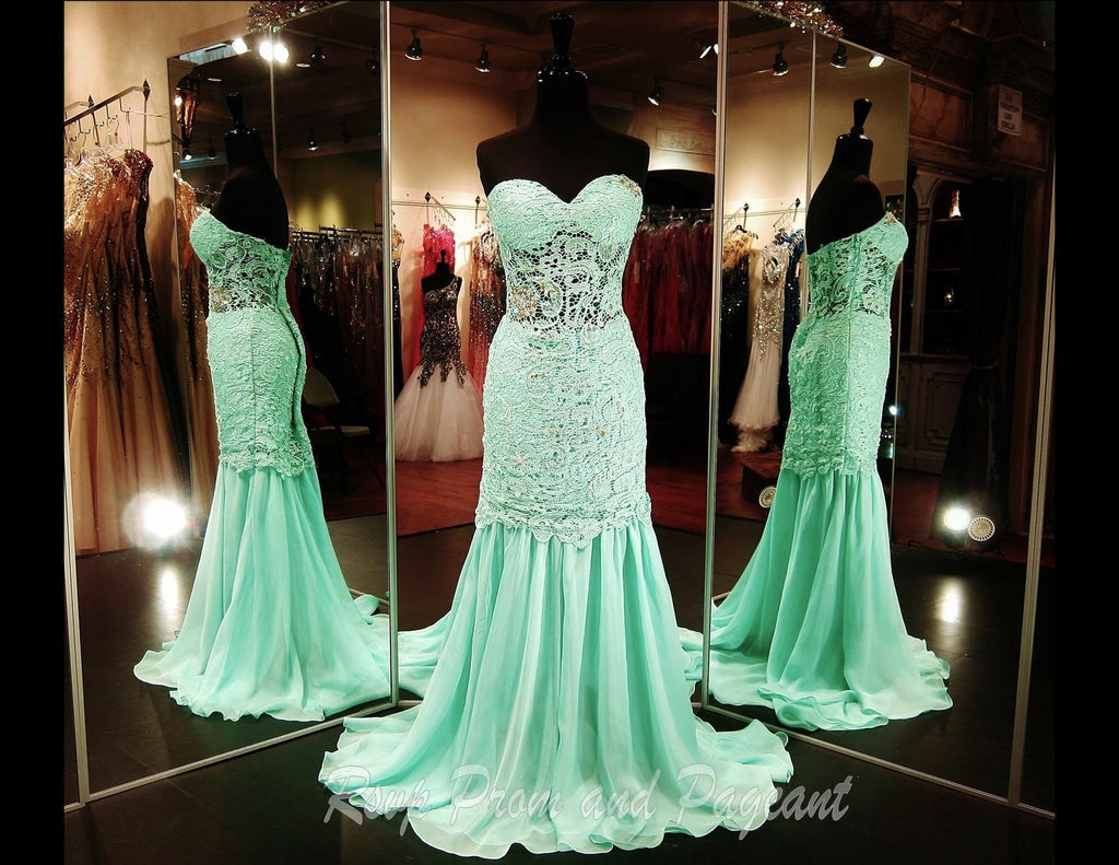 Mint Lace Prom Dress-Sheer Midriff and Skirt-Sweetheart Neckline / Rsvp Prom and Pageant, Atlanta, GA / Best Prom Store in Atlanta / #Promheaven