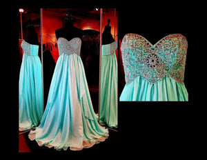 Aqua Strapless Chiffon Long Dress - Rsvp Prom and Pageant, Atlanta, GA