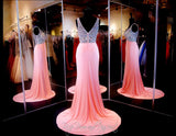 Pink V-Neck Long Dress - Rsvp EC - Long Gown - Rsvp Prom and Pageant - 3