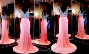 Pink V-Neck Long Dress / Rsvp Prom and Pageant, Atlanta, GA / Best Prom Store in Atlanta / #Promheaven