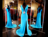 Aqua Jersey V Neck Evening Gown-Slit-Illusion Back-Matching - Rsvp EP - Long Gown - Rsvp Prom and Pageant - 1