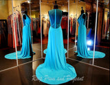 Aqua Jersey V Neck Evening Gown-Slit-Illusion Back-Matching - Rsvp EP - Long Gown - Rsvp Prom and Pageant - 3