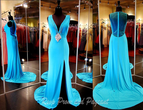 Aqua Jersey V Neck Evening Gown-Slit-Illusion Back-Matching - Rsvp Prom and Pageant, Atlanta, GA