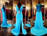 Aqua Jersey V Neck Evening Gown-Slit-Illusion Back-Matching - Rsvp EP - Long Gown - Rsvp Prom and Pageant - 2