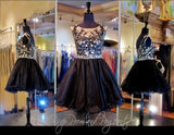 Black/Nude Lace Short Dress (SALE) - Rsvp EP - Short Dress - Rsvp Prom and Pageant Atlanta, Georgia GA - 1