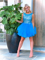 Pretty model in Fabulous Turquoise Beaded Short Homecoming Dress at Rsvp Prom and Pageant, Atlanta, Georgia