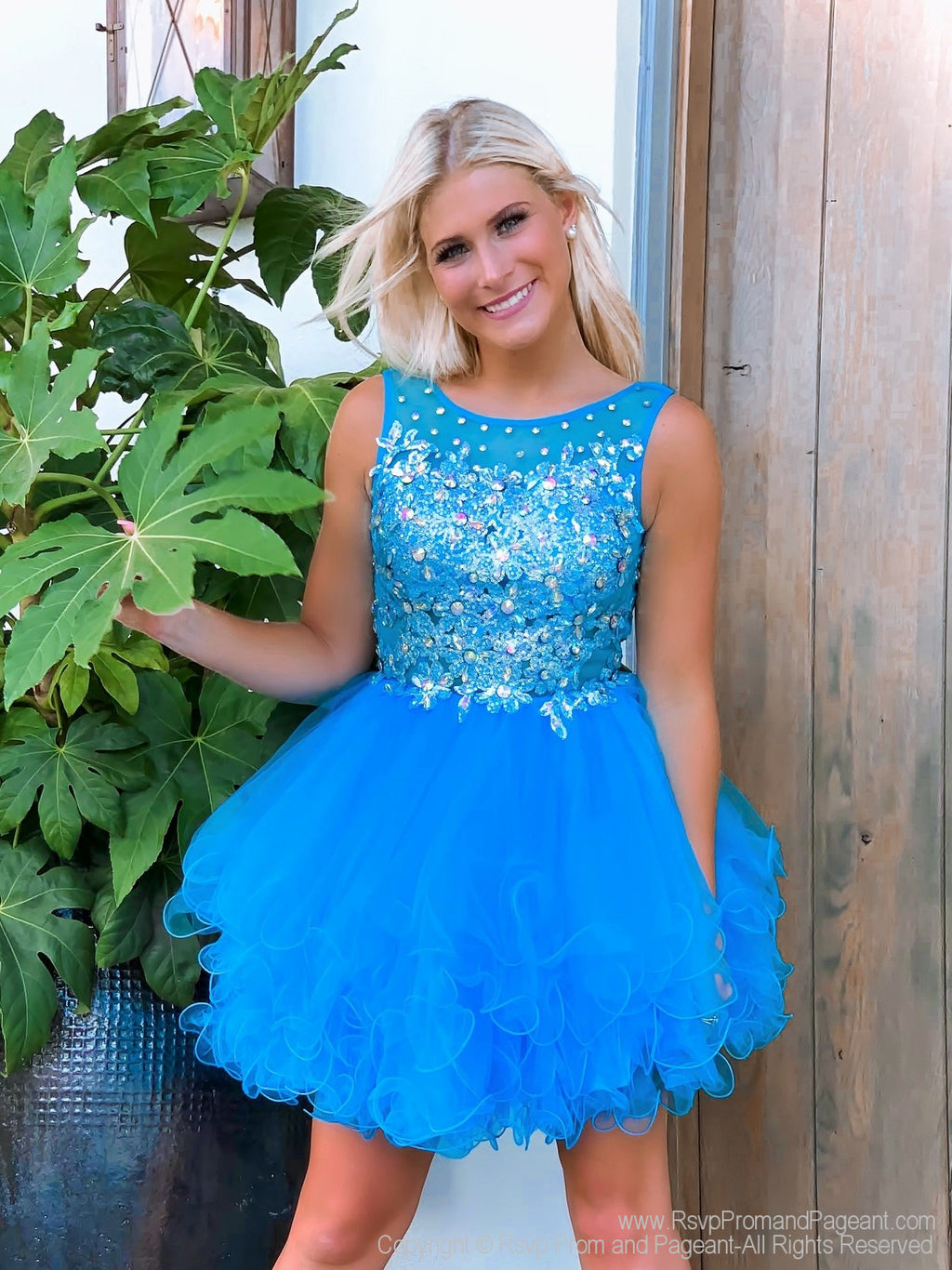 Model showing off front of Fabulous Turquoise Beaded Short Homecoming Dress at Rsvp Prom and Pageant, Atlanta, Georgia