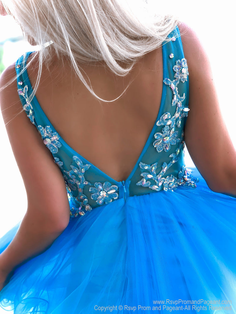 Back of Fabulous Turquoise Beaded Short Homecoming Dress at Rsvp Prom and Pageant, Atlanta, Georgia