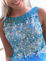 Beaded bodice of Fabulous Turquoise Beaded Short Homecoming Dress at Rsvp Prom and Pageant, Atlanta, Georgia