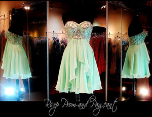 Mint Strapless Sweetheart Chiffon Homecoming Dress / Rsvp Prom and Pageant, Atlanta, GA / Best Prom Store in Atlanta / #Promheaven