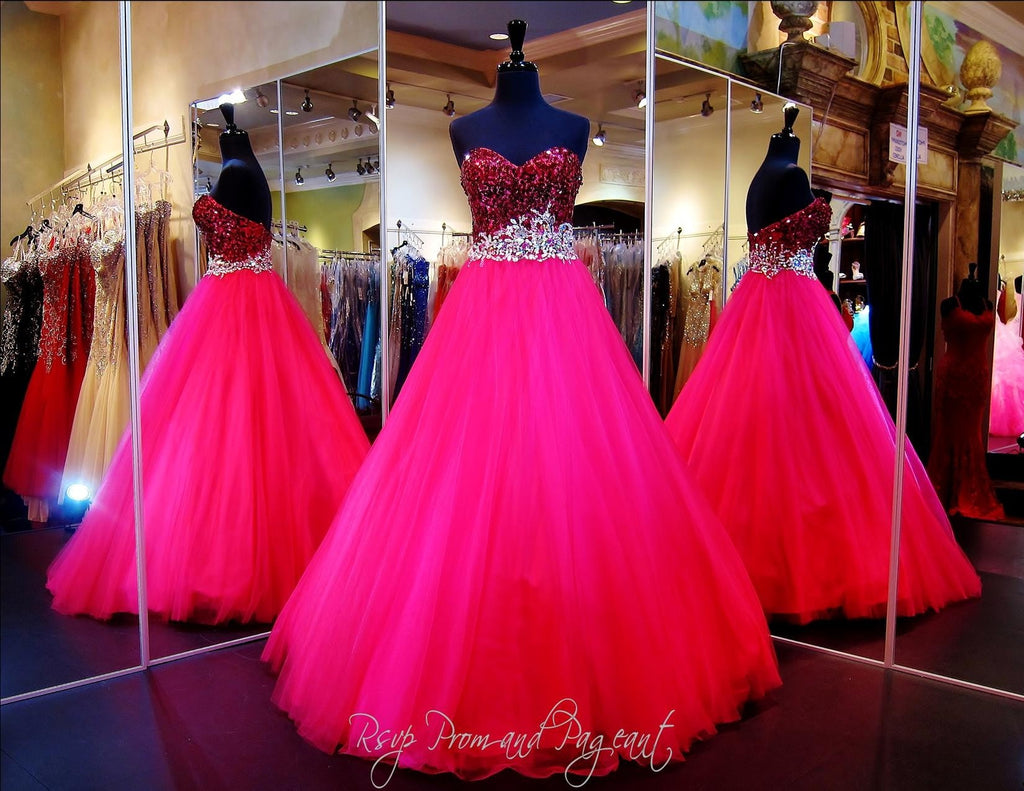 Raspberry Strapless Ball Gown / Rsvp Prom and Pageant, Atlanta, GA / Best Prom Store in Atlanta / #Promheaven