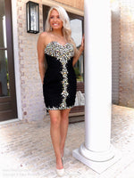 Full body shot of model in That Must Have Little Black Dress at Rsvp Prom and Pageant, the best promdress store in Atlanta, Georgia