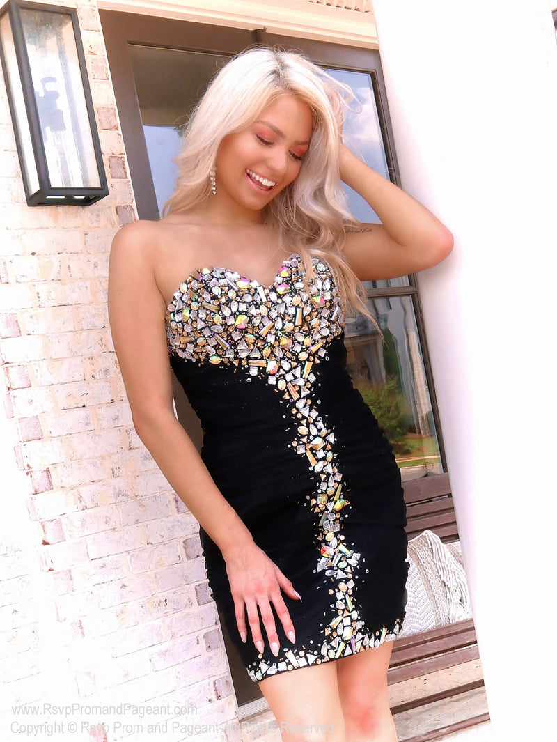 Blonde model in That Must Have Little Black Dress at Rsvp Prom and Pageant, the best promdress store in Atlanta, Georgia