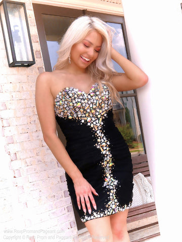 Jaw Dropping Silver/Hologram Sequins Strapless Homecoming Dress