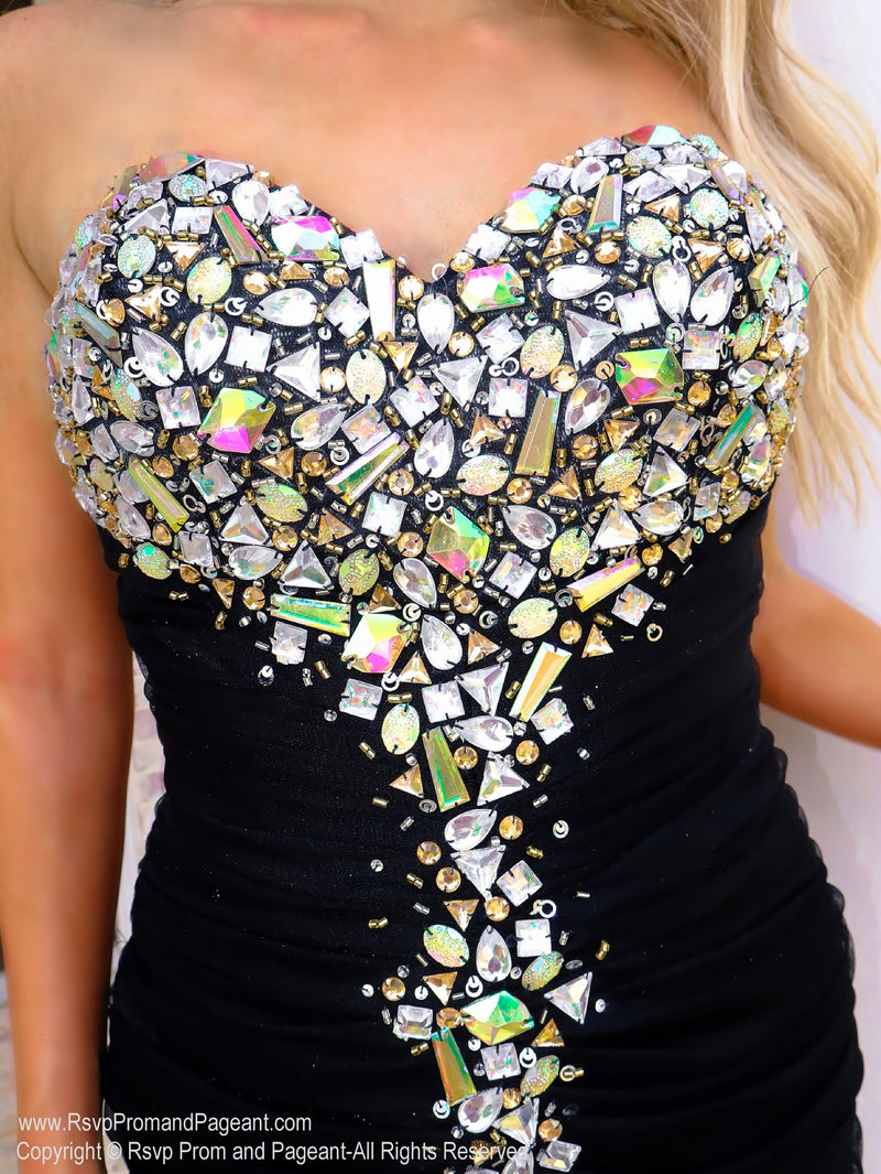 Closeup of beaded bodice of That Must Have Little Black Dress at Rsvp Prom and Pageant, the best promdress store in Atlanta, Georgia