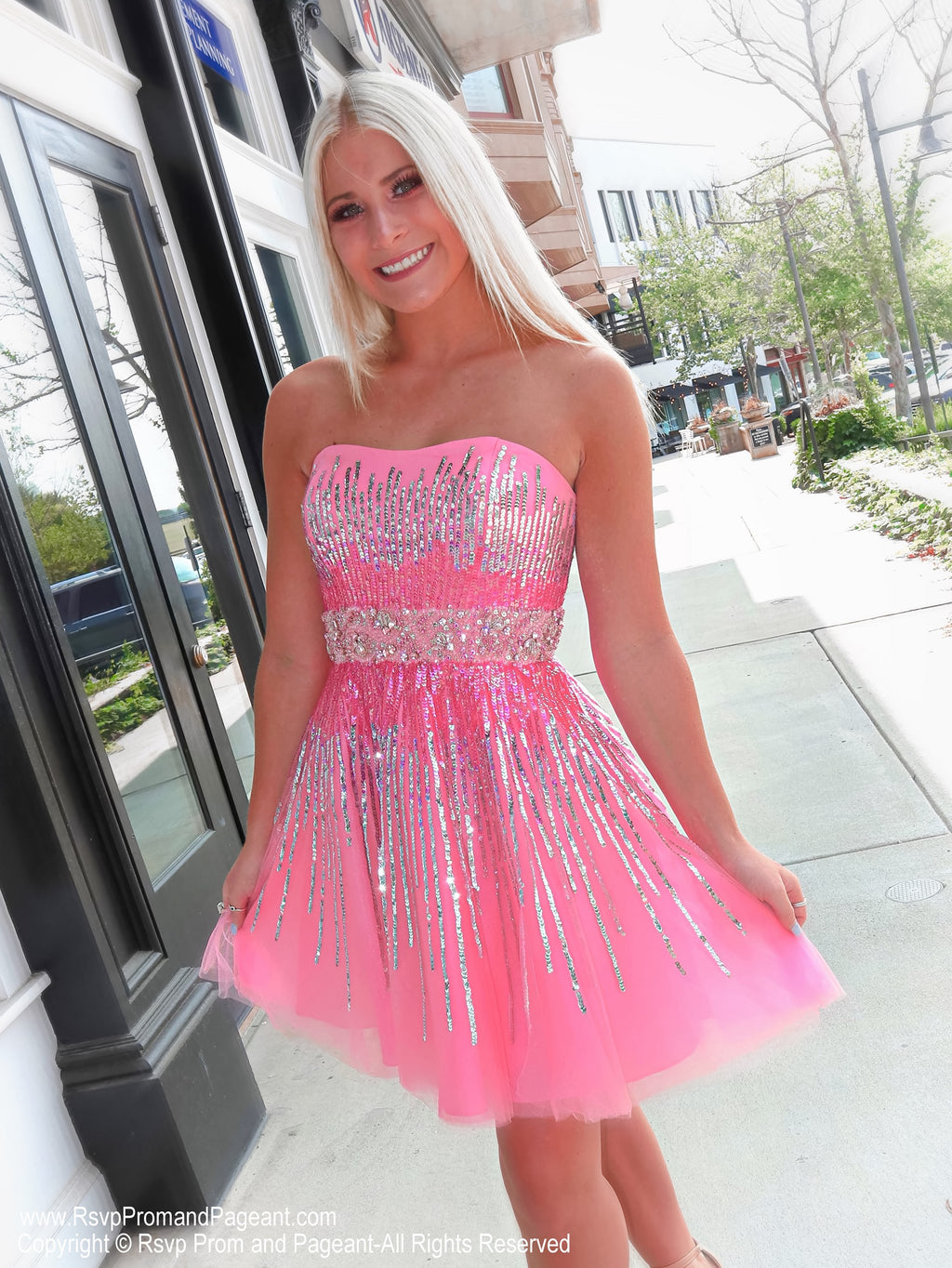 Pretty blonde in Gorgeous Strapless Pink Sequins Homecoming Dress at Rsvp Prom and Pageant, best prom dress store in Atlanta, Georgia